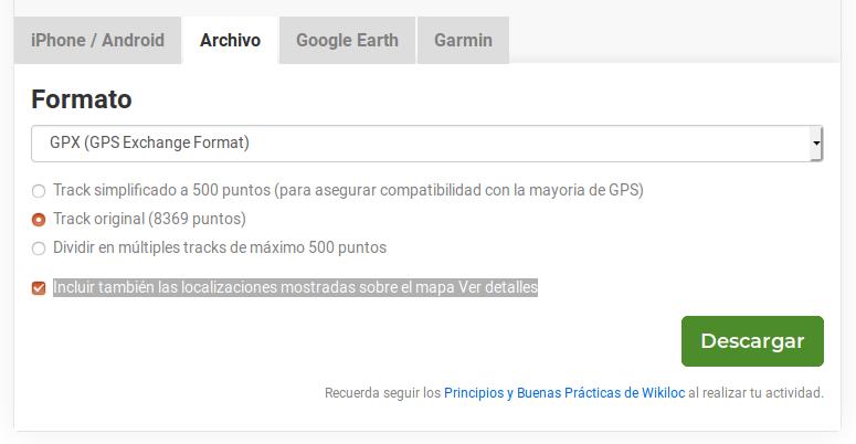 Ejemplo de descarga en wikiloc